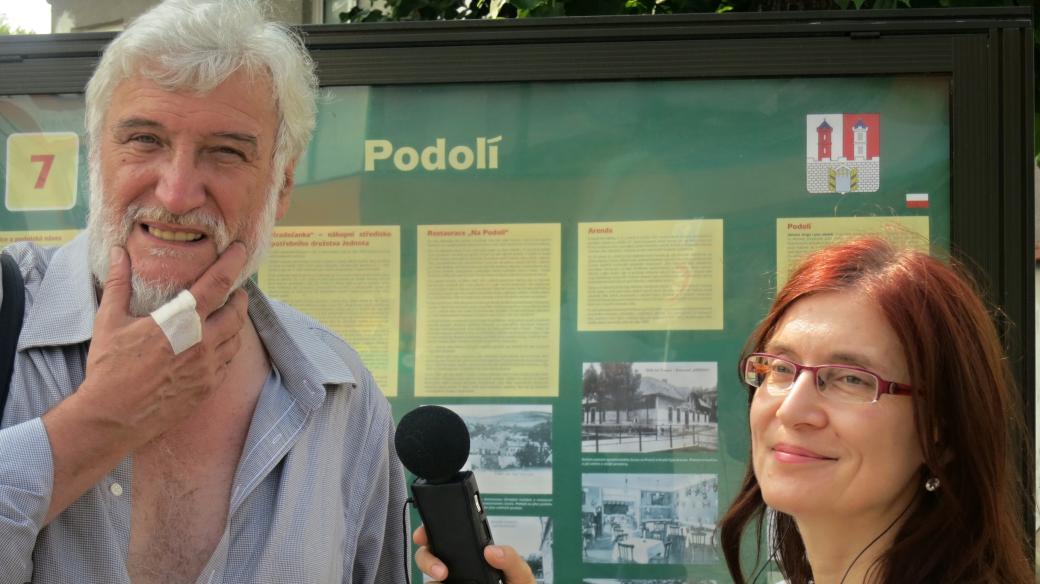 Vít Slíva a Alena Blažejovská při natáčení v Hradci nad Moravicí