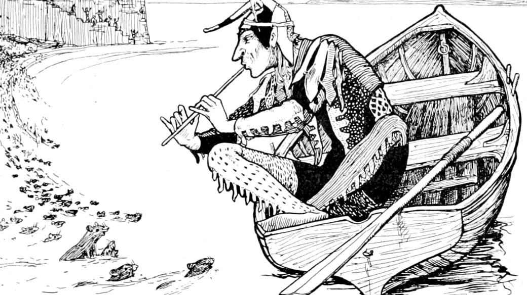 Krysař, ilustrace z knihy pohádek (1894)