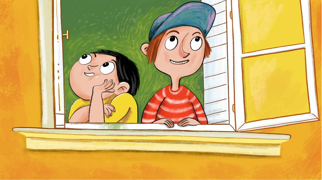 Venda a Fráňa v okně