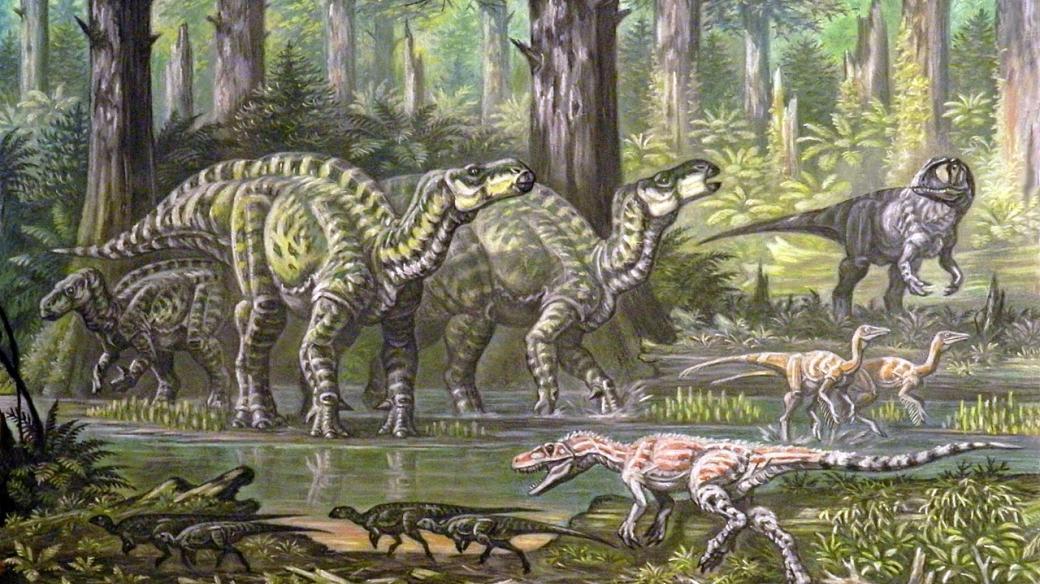 Dinosauří fauna Velké Británie z období spodní křídy, před 145-125 miliony lety: Iguanodon, Neovenator, Ornithomimus, Hypsilophodon a Eotyrannus