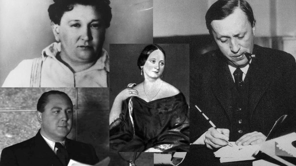 Jaroslav Hašek, Vítězslav Nezval, Božena Němcová a Karel Čapek