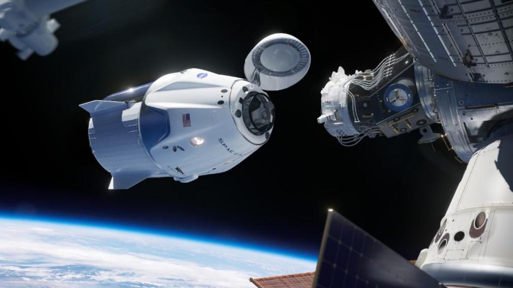 Vizualizace kosmické lodi Crew Dragon a Mezinárodní vesmírné stanice