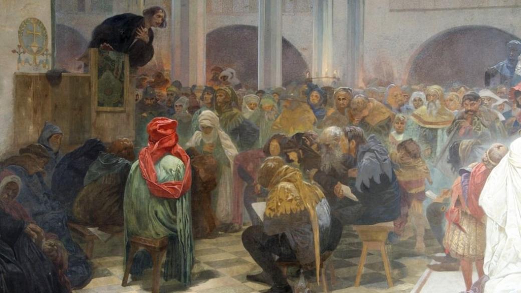 Kázání Mistra Jana Husa v kapli Betlémské: Pravda vítězí (výřez z obrazu z cyklu Slovanská epopej)