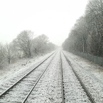 železnice, železniční trať, sníh, koleje