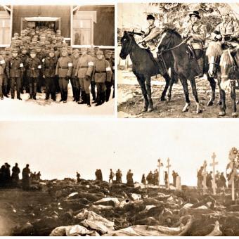 """Finská občanská válka (vlevo nahoře jednotka """"bílých"""" stráží, vpravo nahoře """"rudí"""" důstojníci, dole tragický výsledek bitvy o Tampere)"""