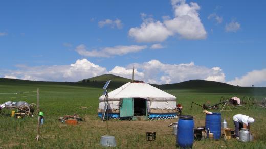 Sucho v mongolské stepi