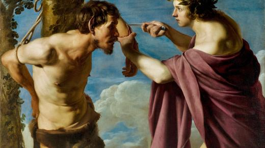 Bartolomeo Manfredi: Apollo and Marsyas (olej na plátně)