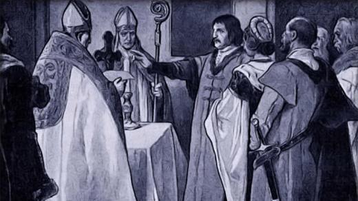 Věnceslav Černý: Přísaha Jiříka z Poděbrad a jeho choti Johany z Rožmitálu před korunovací
